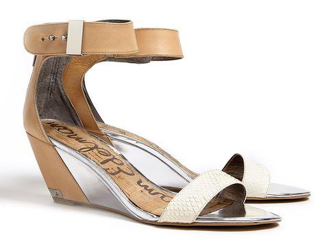 Sam Edelman Natural Sophie Wedge Sandals In Brown Natural