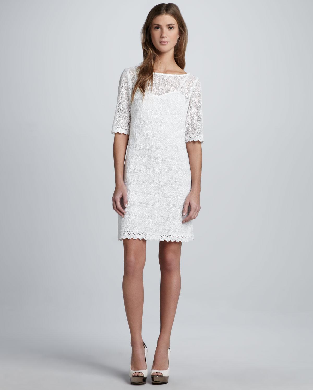 795b80024a656d Trina Turk Steffi Zigzaglace Dress in White - Lyst