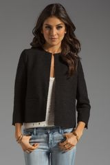 Vince Wool Blend Cropped Jacket - Lyst