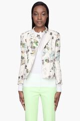 3.1 Phillip Lim Cream Silk Trapunto Ribbed Biker Jacket - Lyst