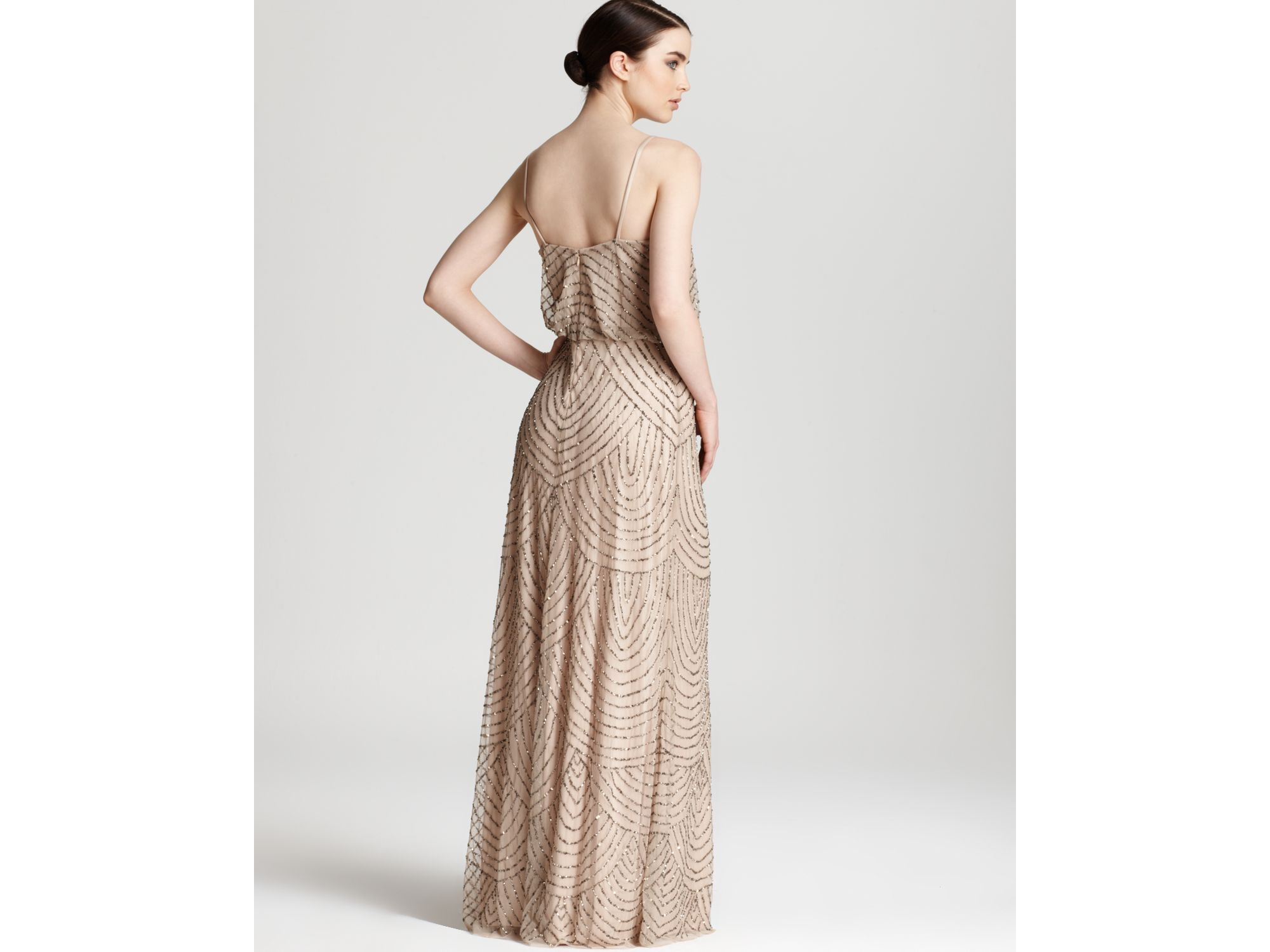 Lyst Adrianna Papell Beaded Dress Long Blouson In Pink