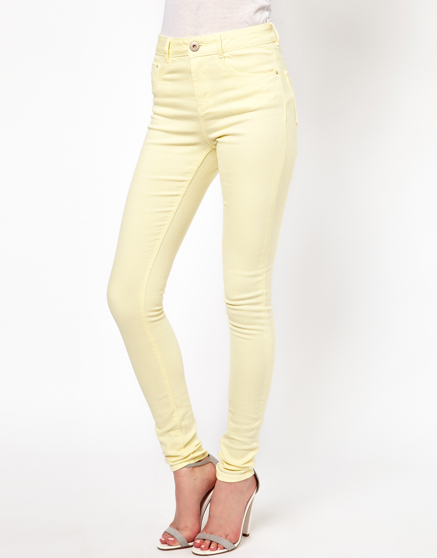 Asos Ridley Supersoft High Waisted Ultra Skinny Jeans in Yellow | Lyst