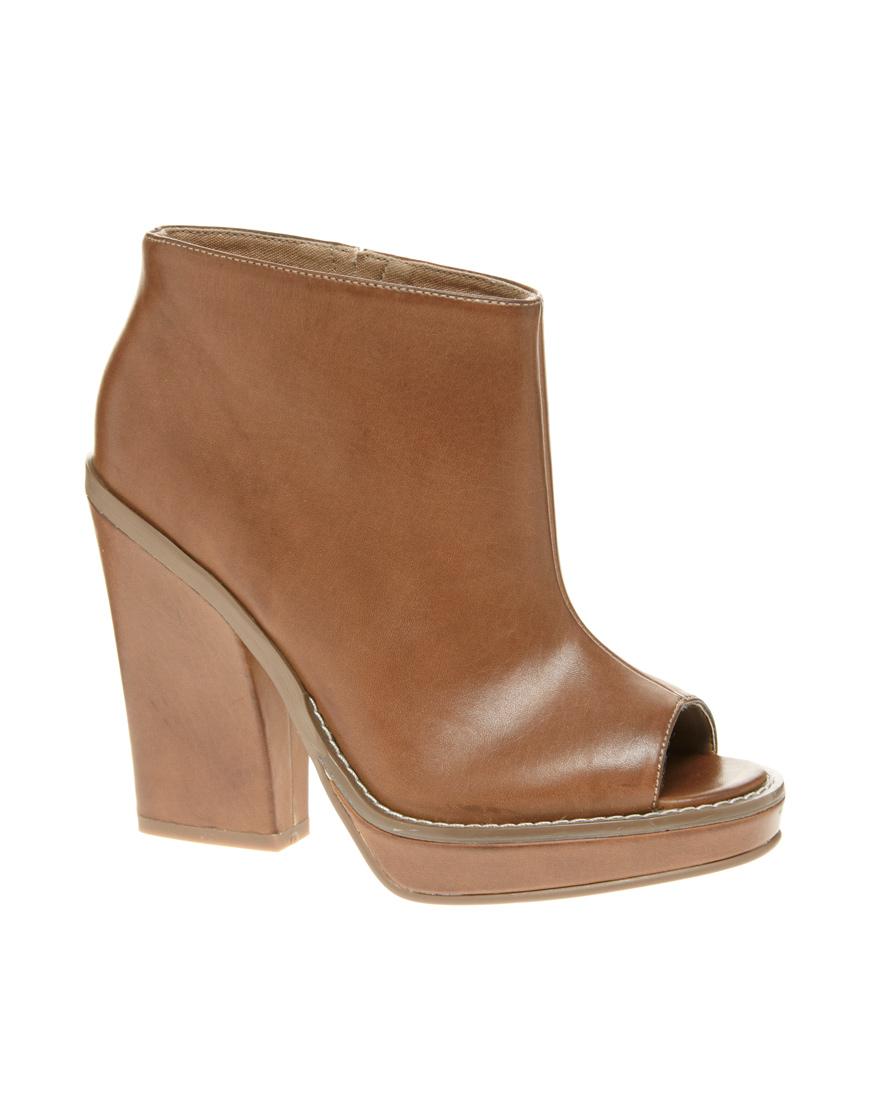 Tan Peep Toe Heel Shoes