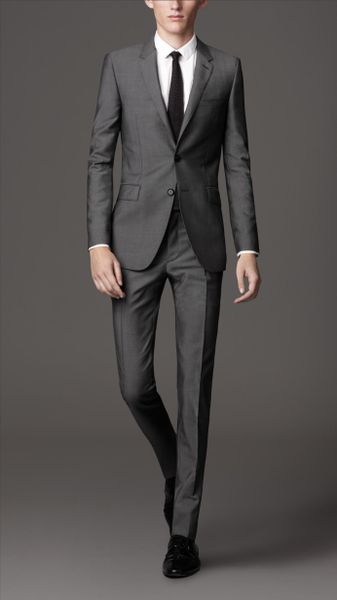 Burberry Slim Fit Wool Mohair Suit in Gray for Men (mid grey) - Lyst