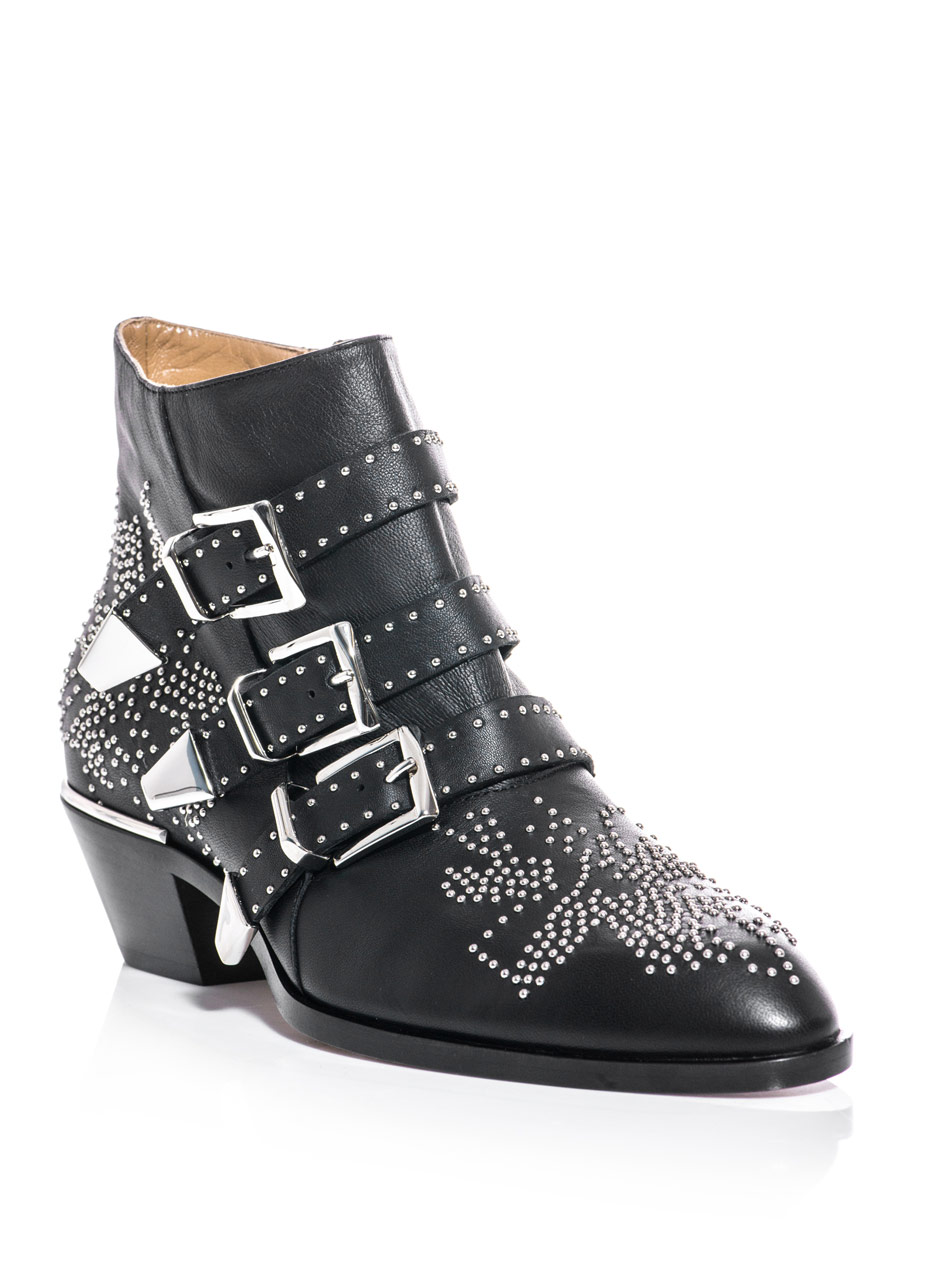 Chlo 233 Studded Susanna Ankle Boots In Black Lyst