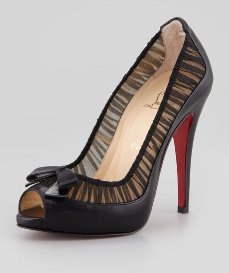 Christian Louboutin Angelique Leatherchiffon Peeptoe Red Sole Pump in Black