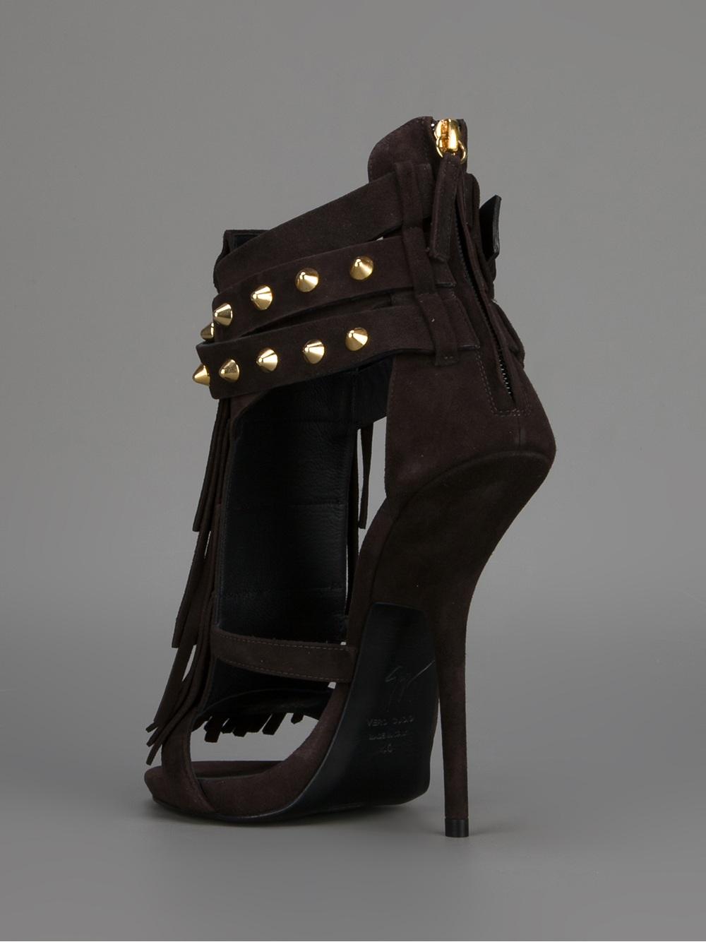 Lyst Giuseppe Zanotti Studded Stiletto Sandal In Black