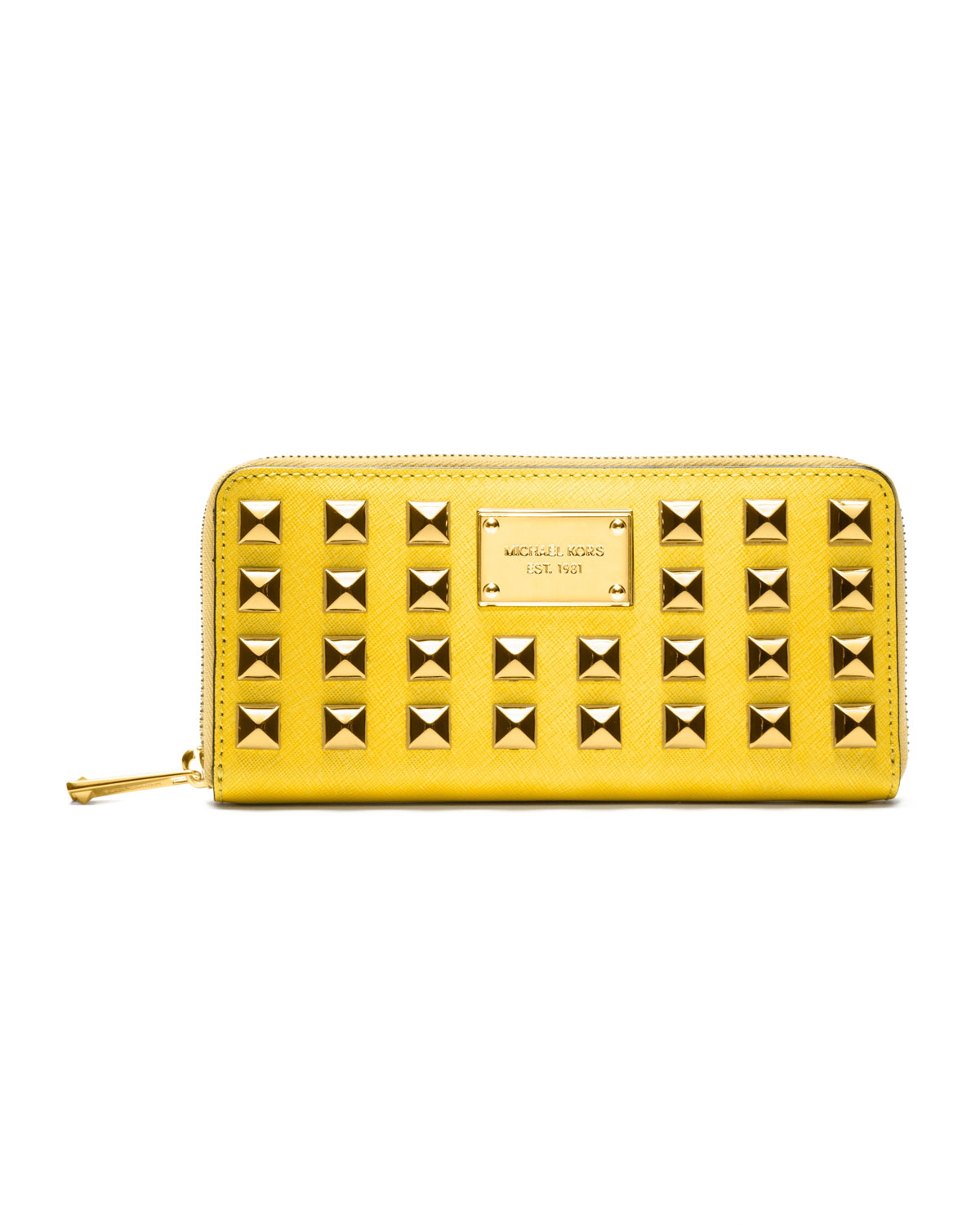 e5e764cfebf9 ... official store lyst michael michael kors pyramid stud wallet in yellow  af89e 009c0