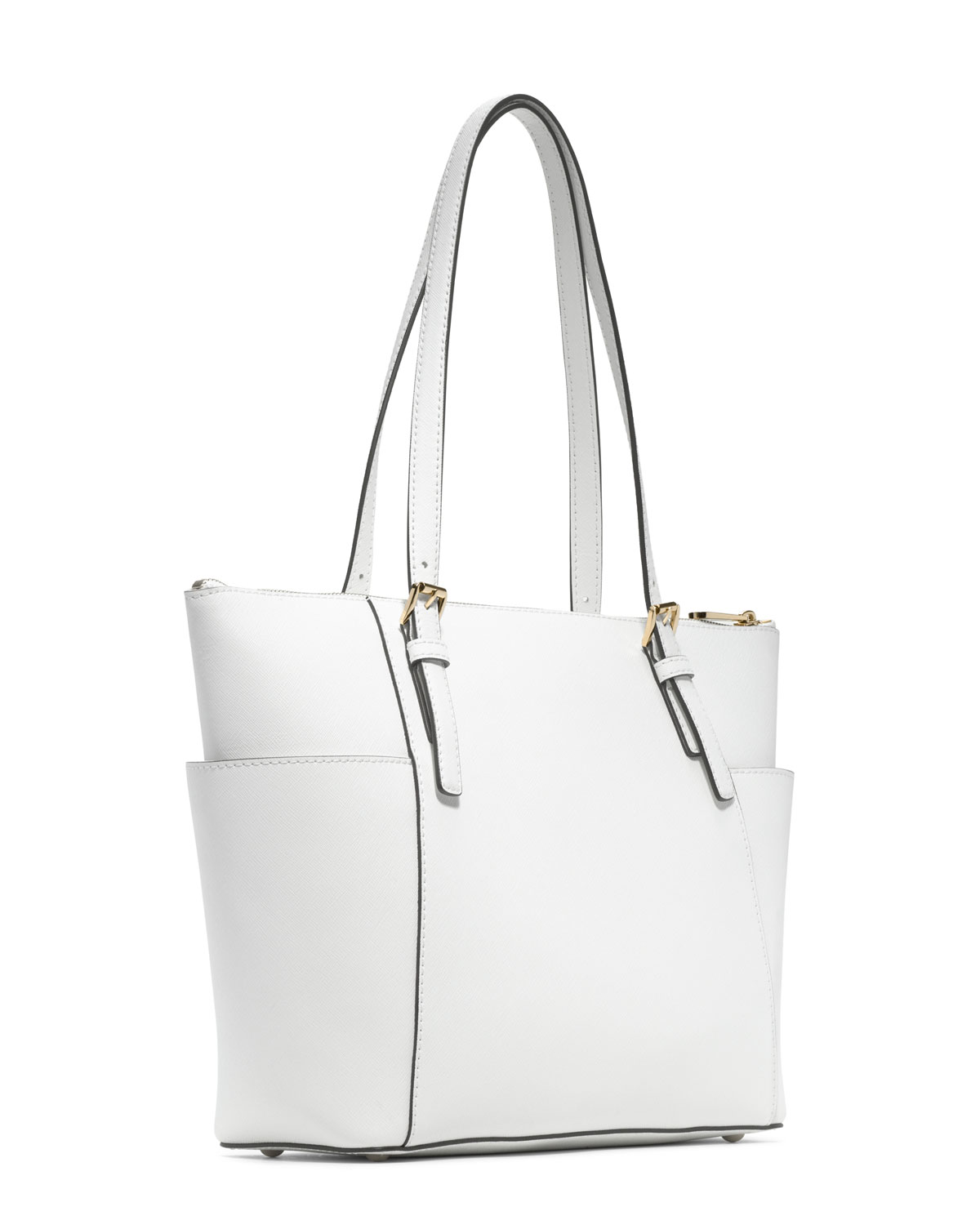 Jet Set Item East-West Top Zip Tote Bag in Optic White Saffia Leather Michael Michael Kors wHMYdTx
