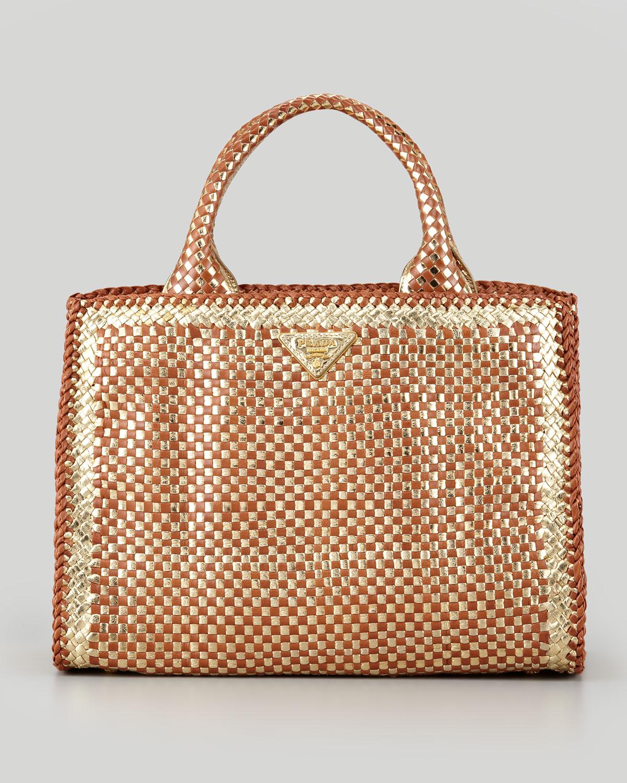 34d22db9255a Prada Woven Small Eastwest Tote Bag in Metallic - Lyst
