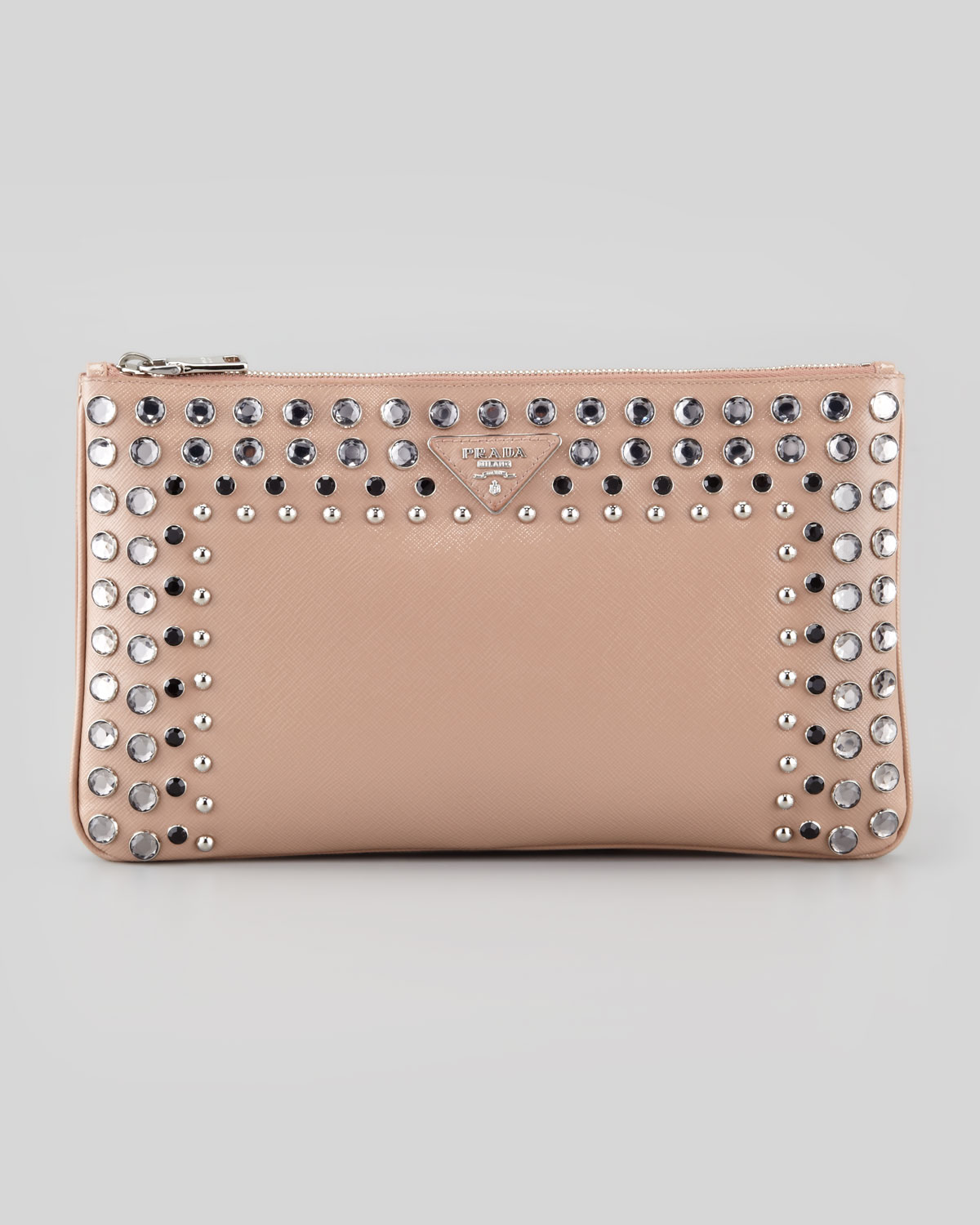 d2fcdf27a298 ... discount code for lyst prada saffiano vernice clutch bag in pink 121a3  29fc5