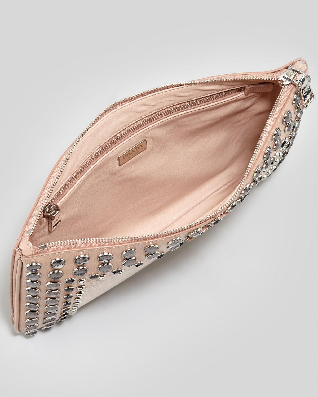 handbag leather prada - Prada Saffiano Vernice Clutch Bag in Pink (light pink/clear) | Lyst