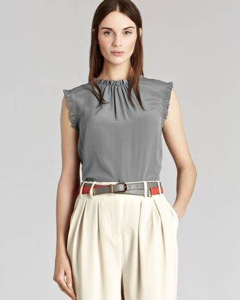 Reiss  Frill Neck and Sleeve Mimi Top - Lyst