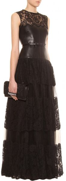 Valentino Leather And Lace Floorlength Gown In Black Nero
