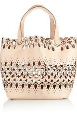 Alaïa Studded Lasercut Leather Tote - Lyst