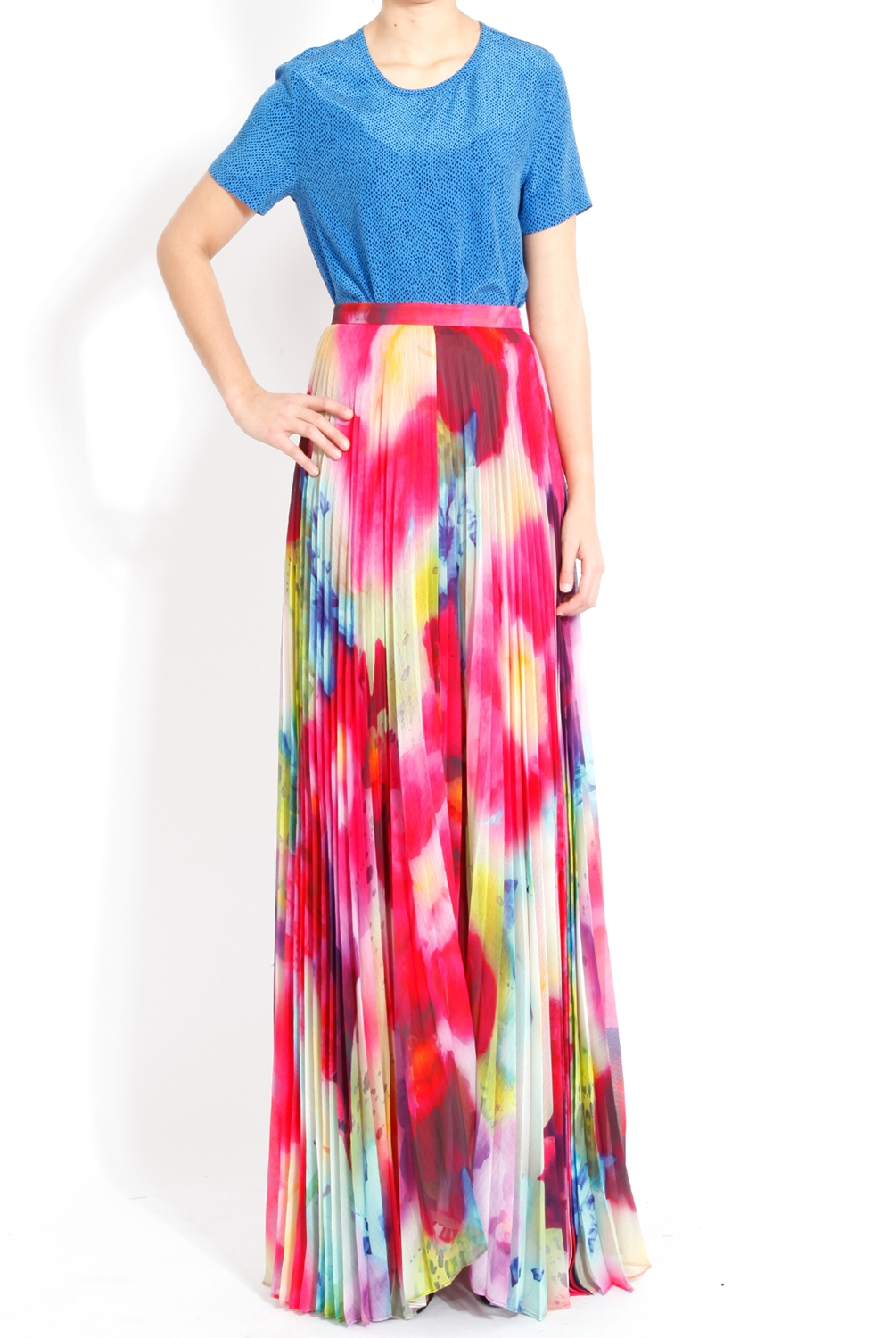 Alice   olivia Shannon Pleated Maxi Skirt in Jungle Floral in Pink ...