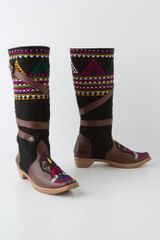 Anthropologie Wrapped Tapestry Boots