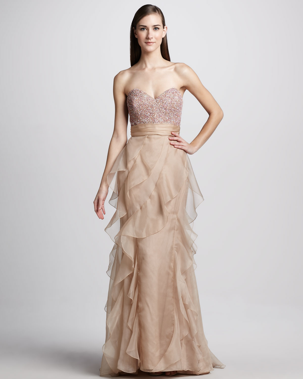Badgley mischka strapless beadtop ruffled gown in natural lyst gallery previously sold at neiman marcus ombrellifo Choice Image