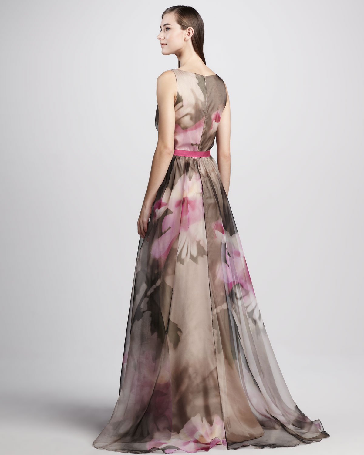 f7c1a6f7518 Badgley Mischka Floral print Organza Ball Gown in Gray - Lyst