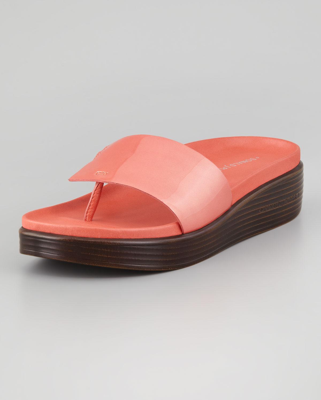 6a996f7a78ed Lyst - Donald J Pliner Fifi Patent-strap Slide Thong Sandal Salmon ...