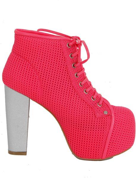 Jeffrey Campbell Lita Foam Mesh Pink in Red (pink)