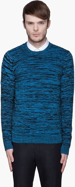 Jonathan Saunders Blue and Black Mottled Ribbed Sweater - Lyst
