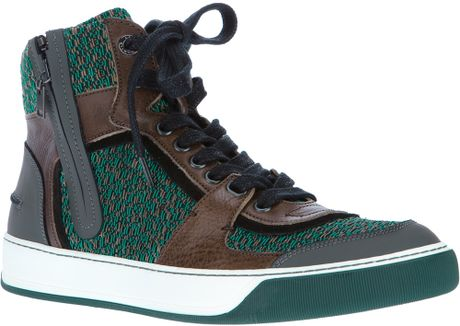 Lanvin Hightop Trainer in Green for Men (khaki) - Lyst