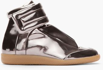 Maison Martin Margiela Metallic Pewter Leather Padded Sneakers - Lyst