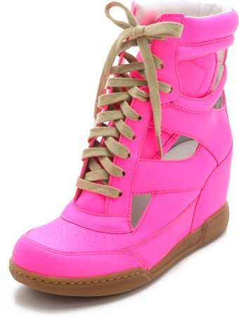 Marc By Marc Jacobs Neon Cutout Wedge Sneakers - Lyst