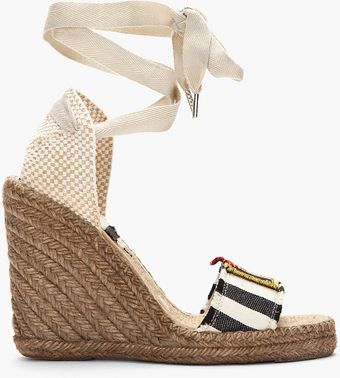 Marc Jacobs Striped Espadrille Wedge Sandals - Lyst