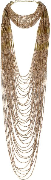 Topshop Mega Seedbead Necklace in Gold - Lyst