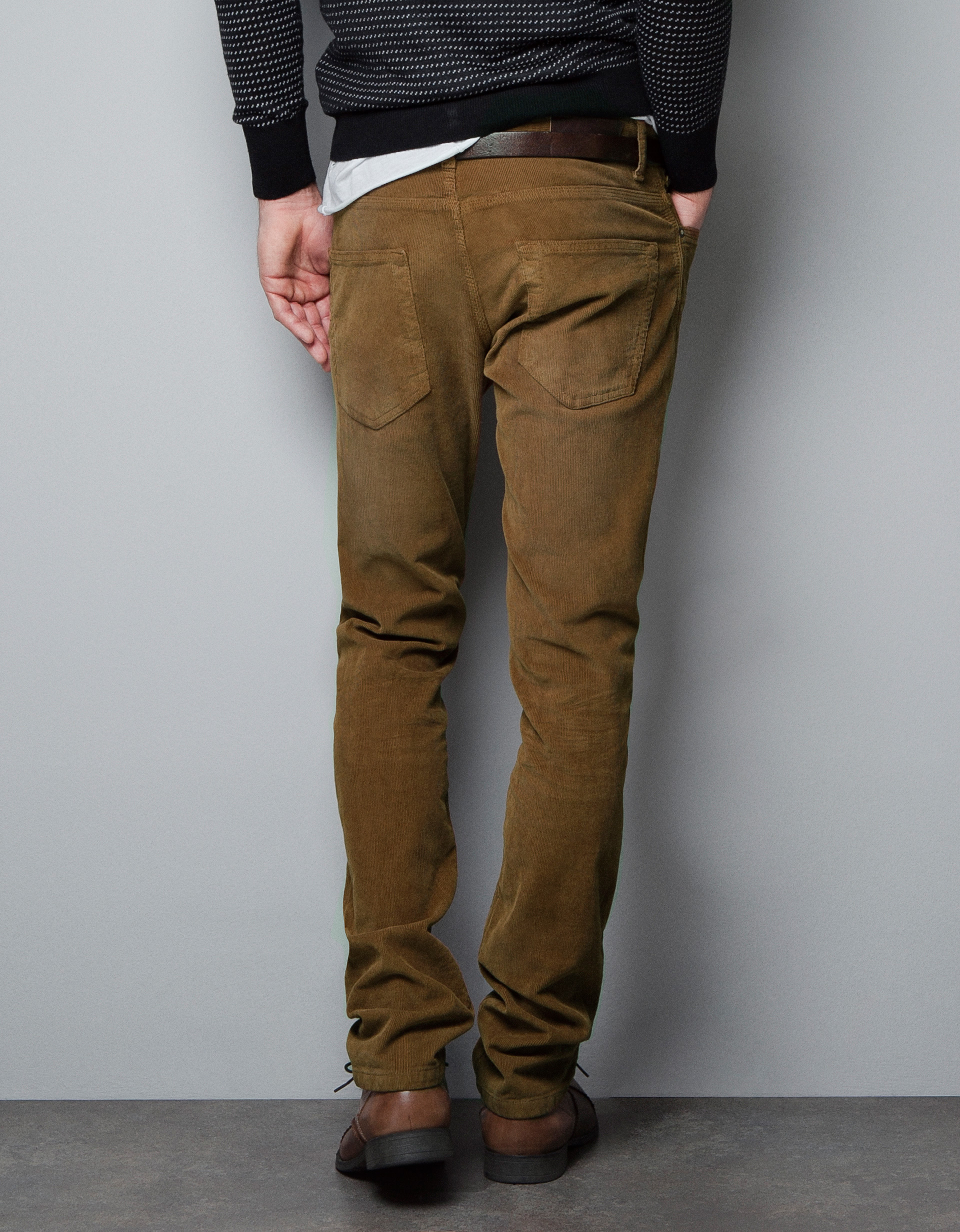 Zara Slim Fit Corduroy Trousers in Brown for Men | Lyst