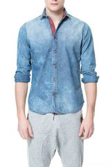 Zara Washed Denim Shirt - Lyst