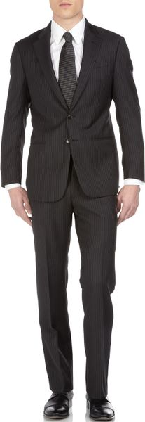 Armani Wide Pinstripe Suit in Black for Men (armani)