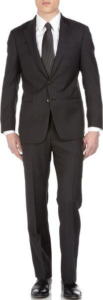 Armani Wide Pinstripe Suit in Black for Men (armani)