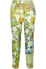 By Malene Birger Nallie Floral print Silk-twill Pants - Lyst