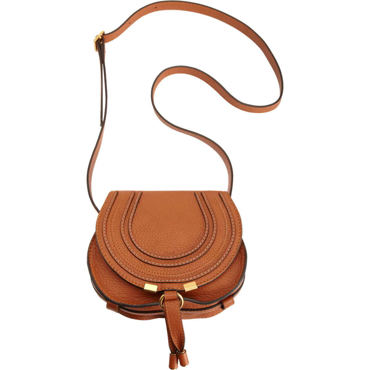 chlo marcie leather saddle bag in brown lyst. Black Bedroom Furniture Sets. Home Design Ideas