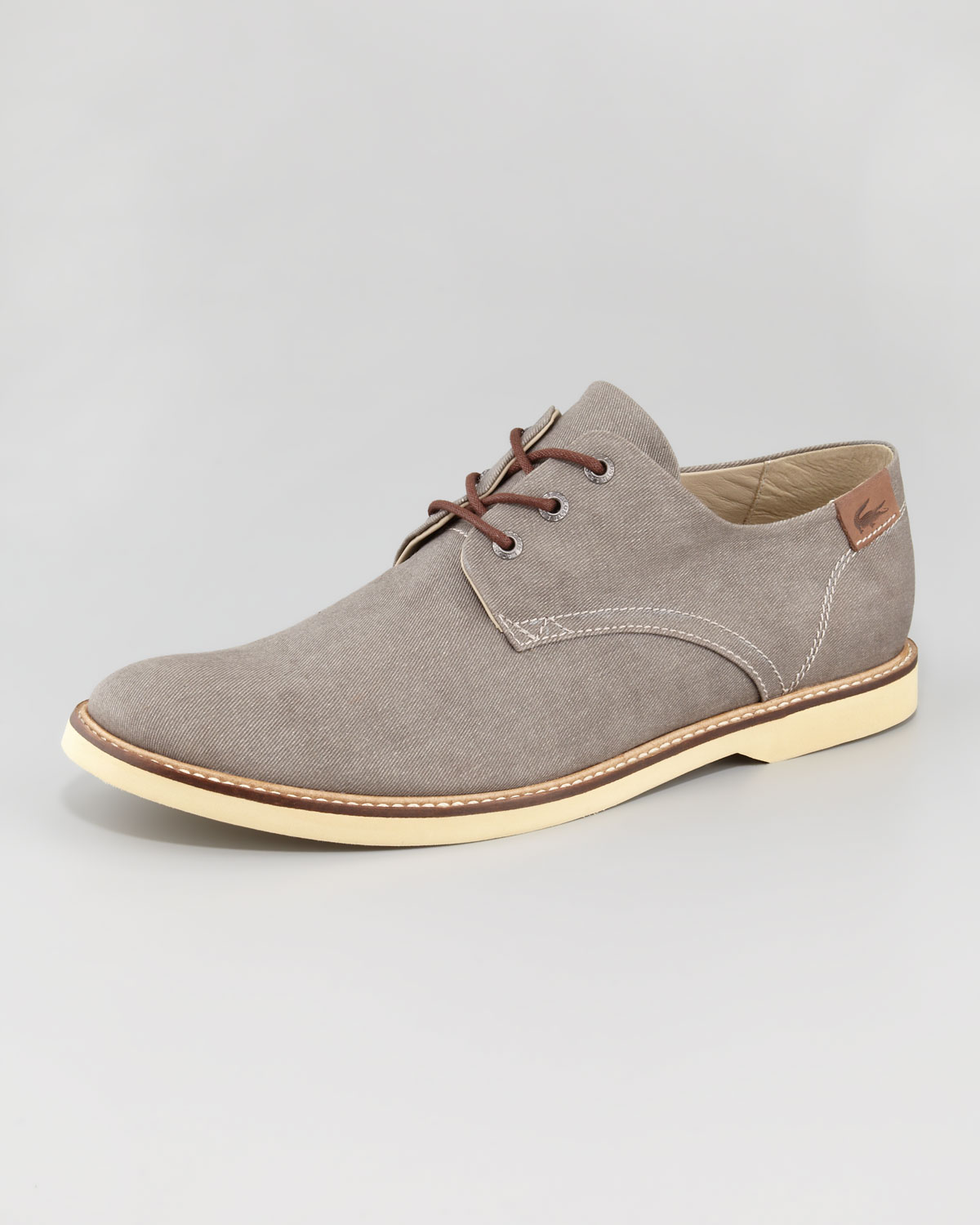 lacoste sherbrooke canvas lace up shoe in blue for lyst