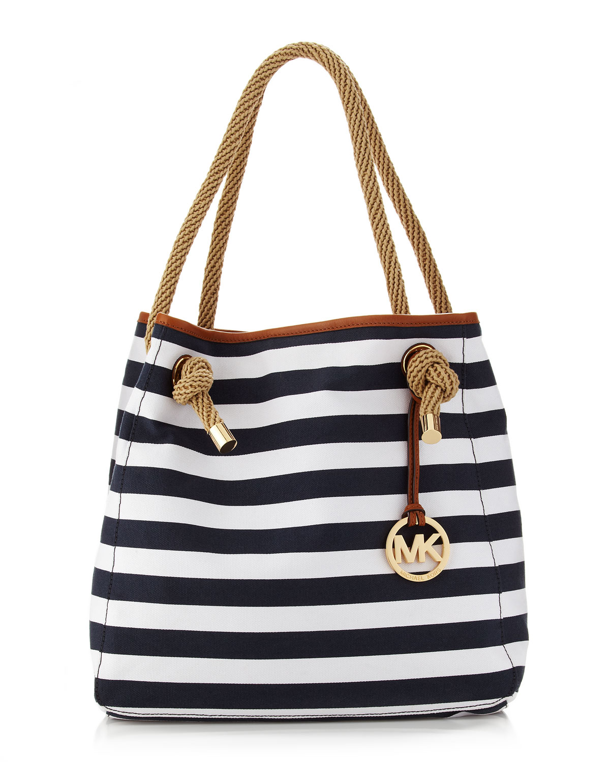ca34689057efb9 Michael Kors Marina Large Canvas Grab Bag in White - Lyst