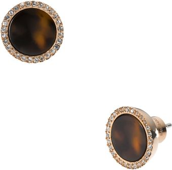 Michael Kors Tortoise Pave Slice Stud Earrings - Lyst