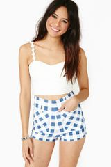 Nasty Gal Ozzie Gingham Zip Shorts - Lyst