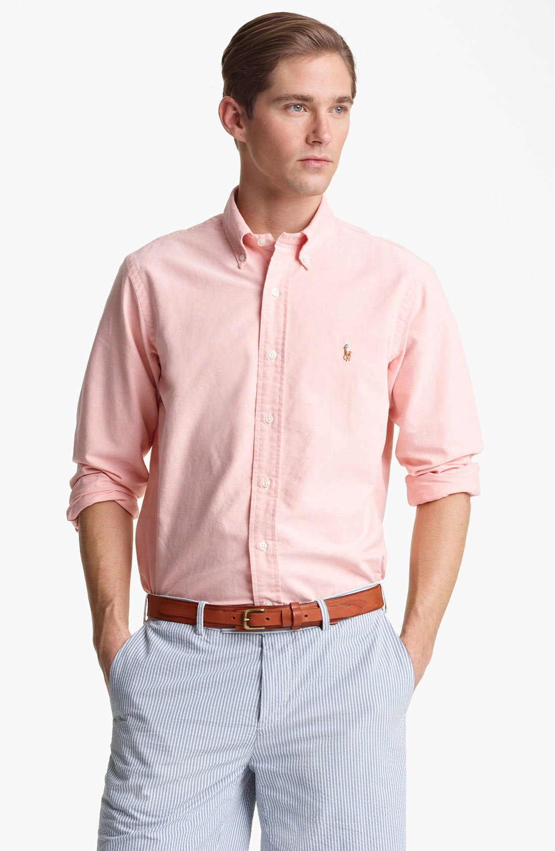 Lyst polo ralph lauren custom fit oxford shirt in pink for Pink oxford shirt men