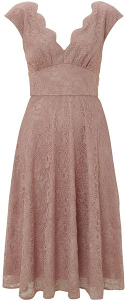 Ariella Lace V Neck Full Skirt Dress - Lyst