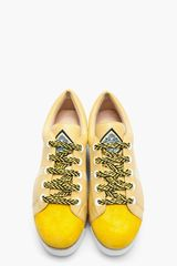 Kenzo Yellow Leather Sneeky Espadrille Platform Sneakers in Yellow - Lyst