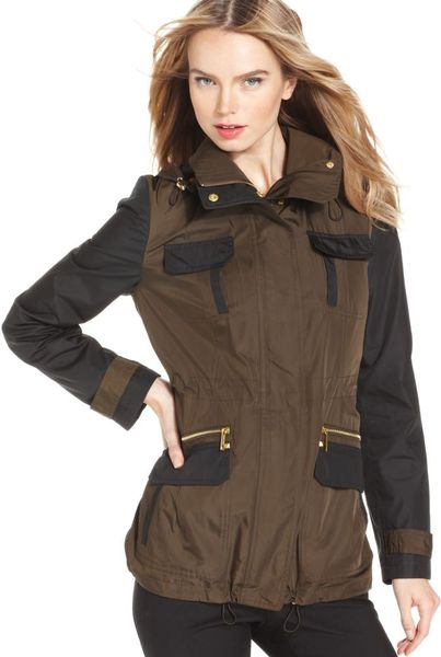 Michael Kors Hooded Anorak in Brown - Lyst