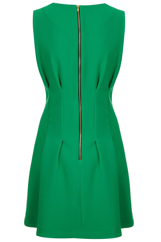 Lyst Topshop Seam Waist Shift Dress In Green