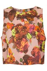 Topshop Sleeveless Floral Print Shell Top - Lyst