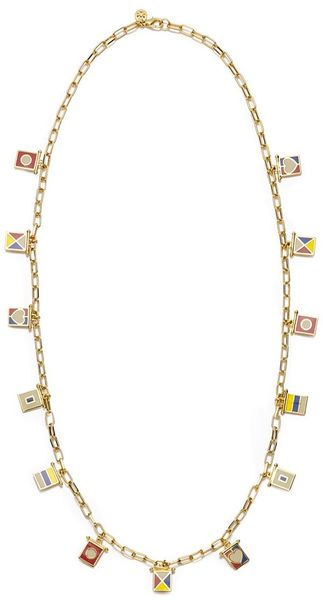Tory Burch Ahoy Flag Charm Necklace - Lyst