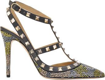 Valentino Rockstud Pump with Crystals - Lyst