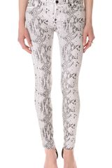 7 For All Mankind The Coated Reptile Skinny Jeans - Lyst